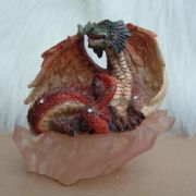 11cm RED DRAGON ON CRYSTAL BASE